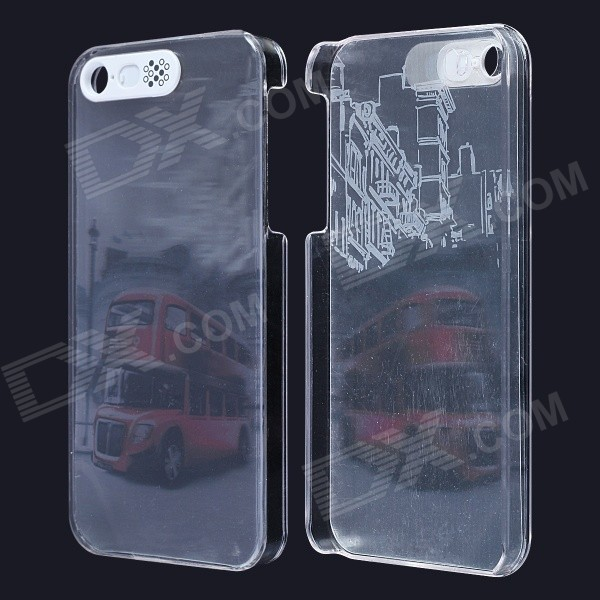 Red Bus / Car Pattern LED Flash Light Protective PC Back Cover Case for IPHONE 5 / 5S - Gray + Red 3d water lines pattern protective pc back case for iphone 5 5c 5s black
