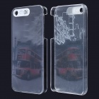 Red Bus / Car Pattern LED Flash Light Protective PC Back Cover Case for IPHONE 5 / 5S - Gray + Red