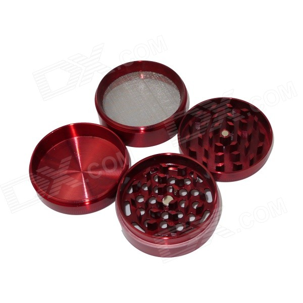 Aluminum Alloy Four-Layer Herb / Spice / Pollen Grinder - Red