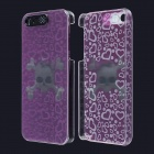 Bow Skull Pattern LED Flash Light Protective PC Back Cover Case for IPHONE 5 / 5S - Pink + White