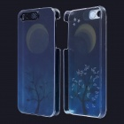Moon & Tree Pattern LED Flash Light Protective PC Back Cover Case for IPHONE 5 / 5S - Blue + Yellow