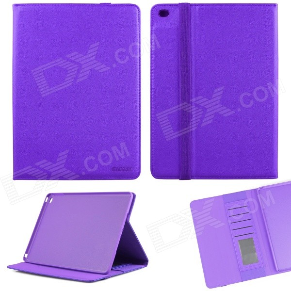 ENKAY ENK-3509 Protective Smart PU Case w/ Stand / Card Slots for IPAD AIR 2 - Purple enkay enk 3509 protective smart pu leather case w stand card slots for ipad air 2 deep pink