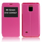 Hat-Prince Protective Case w/ Call Display + Stand for Samsung Galaxy Note 4 N9100 - Deep Pink
