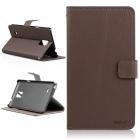 ENKAY Flip Open PU + Plastic Case w/ Stand / Card Slots for Samsung Galaxy Note 4 N9100 - Brown