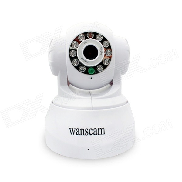 Wanscam JW0008 1/4 CMOS 300KP Indoor IP Camera w/ 10-IR-LED / Wi-Fi - White (EU Plug) wanscam jw0004 1 4 cmos 0 3mp wireless p2p indoor ip camera w 13 ir led wi fi white uk plug