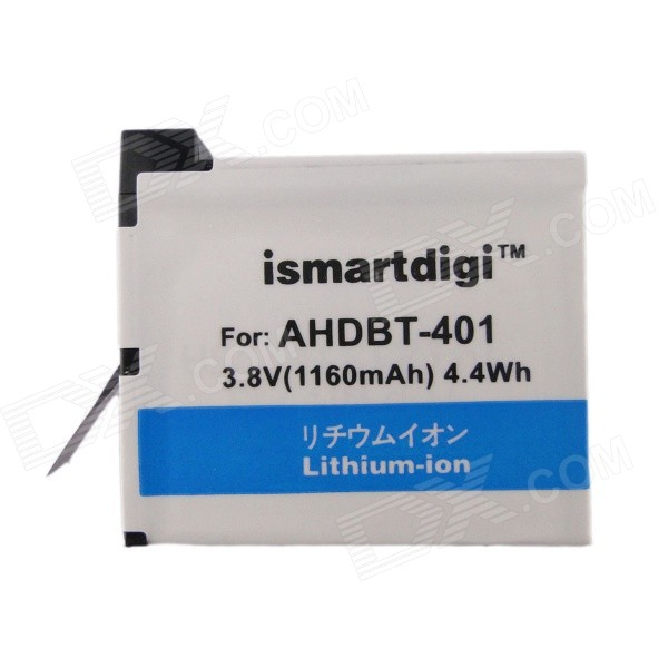 Ismartdigi 401 3.8V 1160mAh Camera Battery Pack for Gopro 4 AHDBT 401 - White