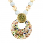 Ethnic Style Round Shaped Azure Stone + Zinc Alloy + Resin - White + Golden
