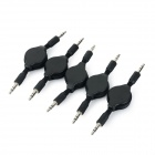 3.5mm Jack Male to Male Audio + Video Retractable Cables Cords - Black (5 PCS)