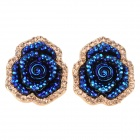 SHIYING A5411 Women's Fashion Blue Enchantress Style Earrings - Deep Blue + Golden (Pair)