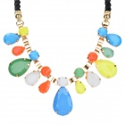 SHIYING X1310 Women's Water Drop Style Acrylic Pendant Necklace - Blue + Orange + Multi-Color