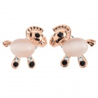 SHIYING Women's Cute Horse Style Zinc Alloy + Opal Ear Studs - Rose Golden + Transparent (Pair)