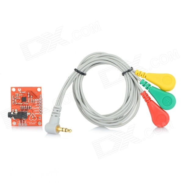 3.3V ECG Monitor Sensor Module for Arduino - Red (Works with Official Arduino Boards)Kits<br>ColorRedModelN/AQuantity1 PieceMaterialPCB + copper + ABSEnglish Manual / SpecNoOther FeaturesA product for Arduino that works with official Arduino boards.Packing List1 x ECG sensor module1 x EMG connecting cable (65cm)3 x Surface electrodes<br>