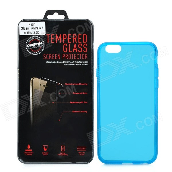 Protective Plastic Back Case + Tempered Glass Screen Guard Set for IPHONE 6 4.7 - Blue protective 9h tempered glass full screen guard protector back sticker for iphone 6 golden