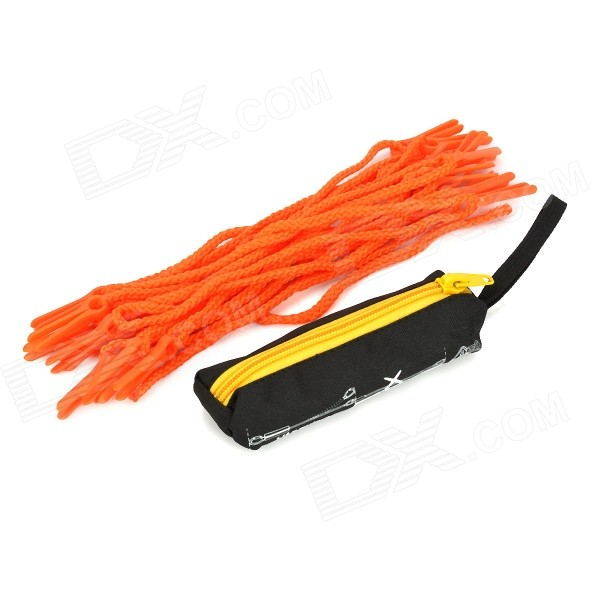 Multi-Function Outdoor Travel Camping Clothesline w/ 20 Clips / Pouch - Orange (5m)