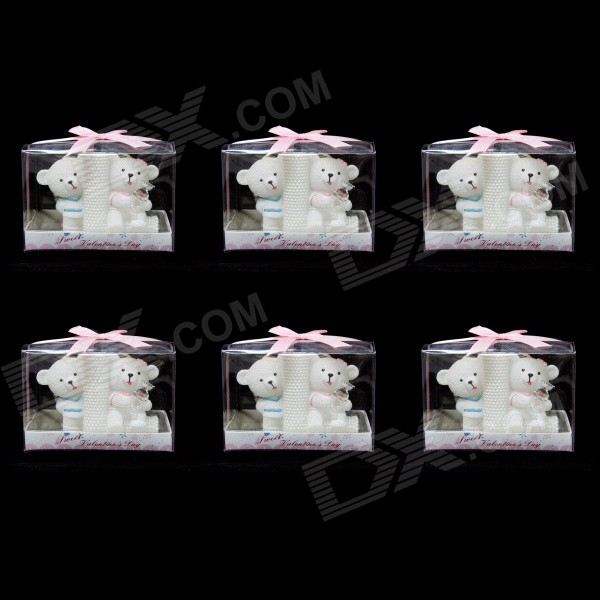 FEIS Sweet Bear Lovers Style Candle & Keychain - White (6 PCS) feis poly pb766a8bw2aa2 bb lies in bassinet blue 6 pcs