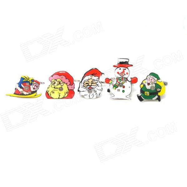 Christmas Style Flashing LED Brooch Badge - White + Red + Multi-Color (5 PCS)
