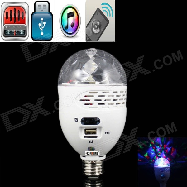 KINFIRE E27 5W 220lm LED RGB Light Bulb w/ Speaker / FM / USB / TF / RF Dimmer (AC 100~240V) diy optic fiber light kit led light 4mx0 75mmx280pcs optical fibres rgb 16color change wireless rf control star ceiling light
