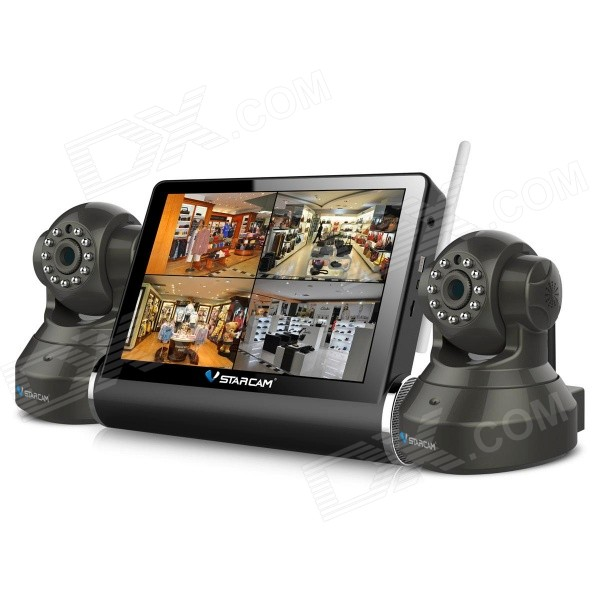 VStarcam TZ37 7'' Touch Screen Wireless Network Video Server + 2CH HD IP Cameras Security System Set