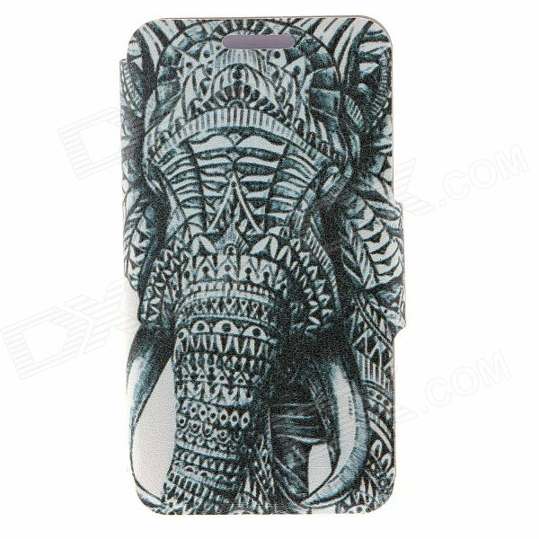 Kinston Elephant Pattern PU Leather Flip Open Case w/ Stand for IPHONE 6 PLUS - Grey + White kinston kst92535 silk pattern pu plastic case w stand for iphone 6 plus white