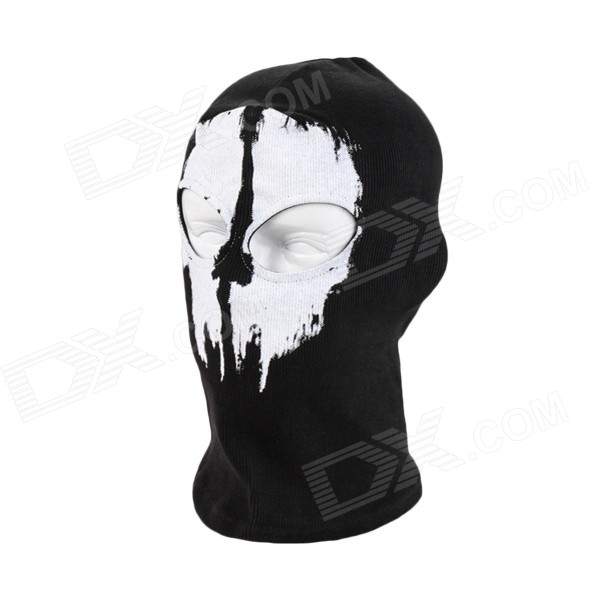 BS-B01 Men's Windproof Outdoor Riding Headgear Hood Face Mask - Black + White skull pattern outdoor motorcycle face mask shield guard white black free size
