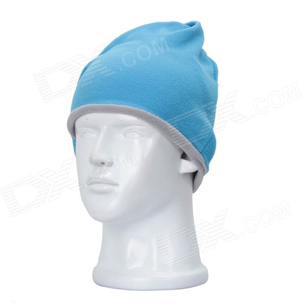YT578 Outdoor Windproof Double-sided Fleeces Cap - Blue + Grey