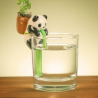 NEJE ZJ0059-2 Cute Panda Style Self Watering Plant Pot Planter w/ Straw - White + Black