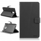 ENKAY Protective Flip Open Case w/ Stand / Card Slots for Samsung Galaxy Note 4 N9100 - Black