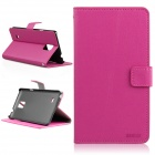 ENKAY Protective Flip Open Case w/ Stand / Card Slots for Samsung Galaxy Note 4 N9100 - Deep Pink