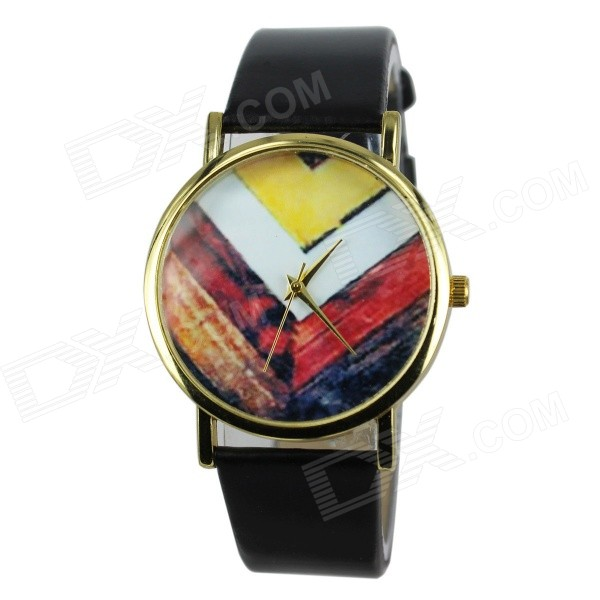 Women's Wooden Division Pattern Casual PU Band Quartz Analog Watch - Black (1 x 377)