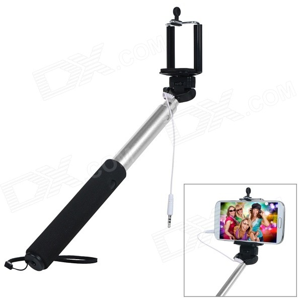 Handheld Selfie Rod Monopod for GoPro Hero & Shutter for IOS / Android Cellphones - Black + Silver