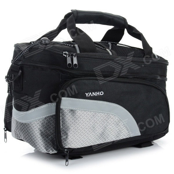 YANHO Oxford Fabric Cycling Back Seat Rack Bag - Black + Grey