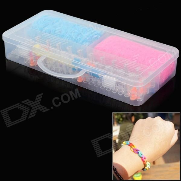 Educational DIY Silicone Rubber Bands + S-Clip Set - Pink + Multi-Color (2800 PCS)