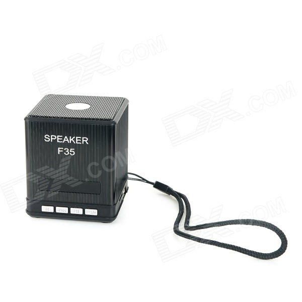 F35 Portable 2-CH Mini Speaker w/ TF / 3.5mm / USB 2.0 / Mini USB - Black