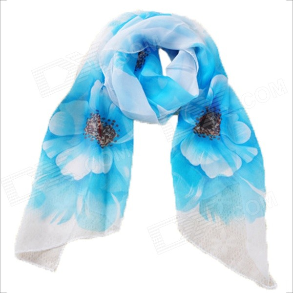 XFWJ003 Women's Romantic Flower Pattern Scarf - White + Blue