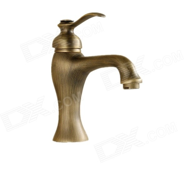 PHASAT 4315 European Style Retro Zinc Alloy Handle Brass Bathroom Basin Faucet - Antique Brass tall faucet retro style bathroom sink basin faucets hot and cold water taps antique brass single ceramics handle mixer tap