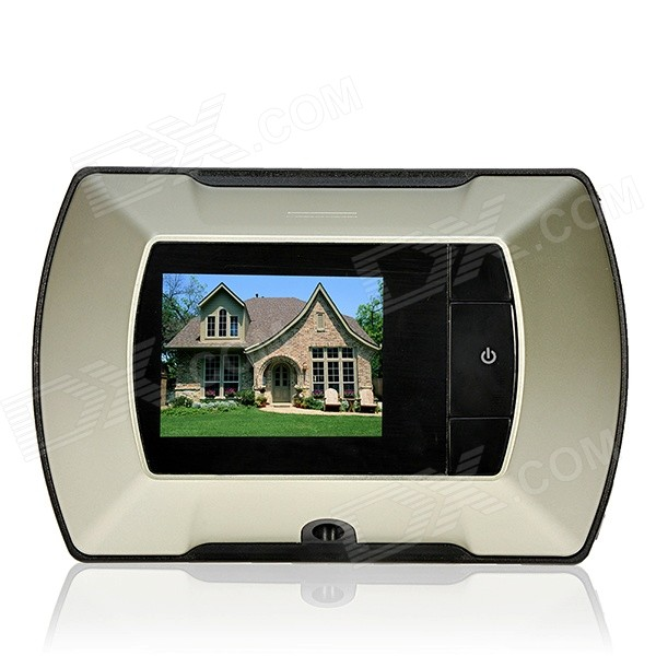 2.2 Screen Wireless Outdoor Camera + Indoor Digital Peephole Viewer Monitor Set - Black + Champagne 2 8 inch tft lcd display digital peephole door viewer camera