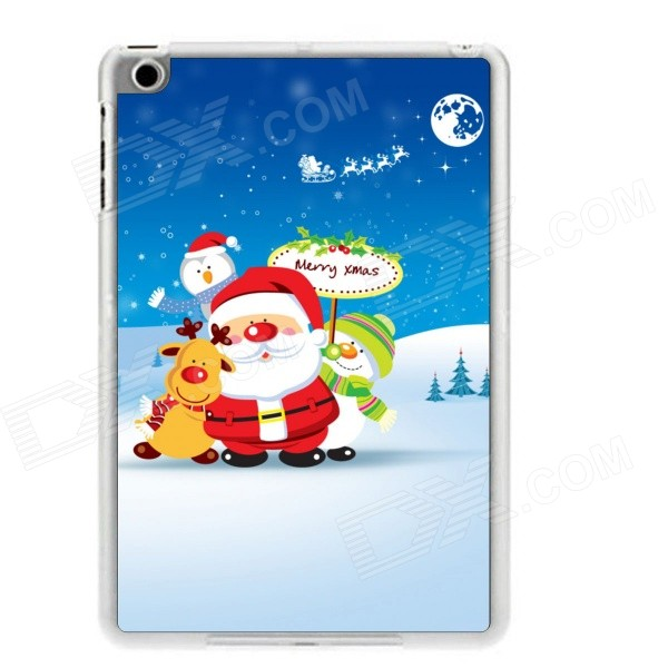 Santa Claus + Snow Pattern Plastic Back Case for RETINA IPAD MINI / IPAD MINI 1 / 3 - White + Red santa claus