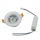 YouOkLight 3W 220lm 3000K 3-LED Warm White Light plafonnier w / LED Driver - Blanc (AC 100 ~ 240V)