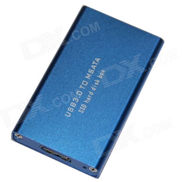WBTUO Super Speed USB 3.0 to MSATA SSD Hard Disk Box Enclosure - Blue