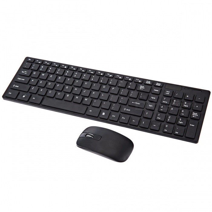 YDL-G-06-2 Mini Ultra-thin 2.4GHz Wireless 101-Key Keyboard + 1600DPI Mouse Set - Black (3 x AAA)