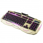 V-100 114-Key Backlit Gaming Keyboard + Mouse Set - Gold + Black