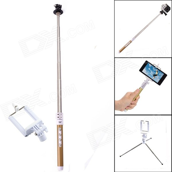 Dispha G-499 Bluetooth Smart Retractable Selfie Monopod for GoPro / IPHONE + More - Gold + Silver retractable selfie monopod w cellphone holder remote control for iphone more black white