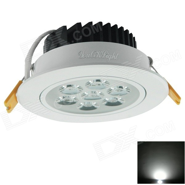YouOkLight 7W 600lm 6000K 7-LED White Light Ceiling Lamp w/ LED Driver - White (AC 100~240V) kinfire circular 6w 420lm 6500k 30 x smd 3528 led white light ceiling lamp w driver ac 85 265v