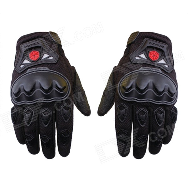 Scoyco MC29 Anti-Slip Drop Protection Full-Finger Sporty Motorcycle Gloves - Black (Pair / M)