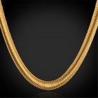 U7 GN334K Snake Style Chunky Gold-plated Stainless Steel Chain Necklace - Golden