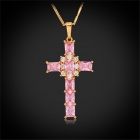 U7 P249K-82 Women's Luxury Zircon Cross Jesus Style Gold-plated Pendant Necklace - Gold + Peach