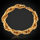 U7 H5187 Men's Trendy Chunky Gold-plated Copper Twisted Link Chain Bracelet - Golden
