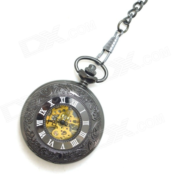 Masculina W12 Retro liga de zinco Mechanical Analog Pointer Pocket Watch - Black