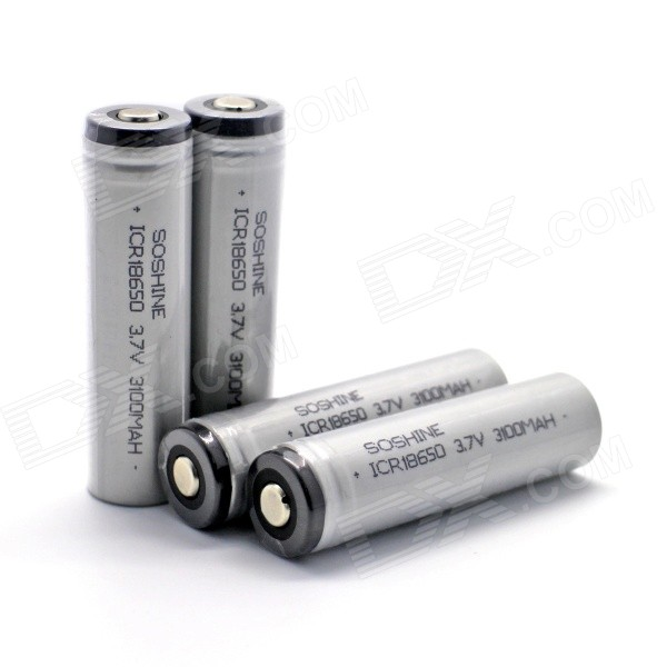 цена на Soshine 3100mAh ICR18650 Li-ion Anode Protection Batteries w/ Transparent PVC Case - Gray (4 PCS)