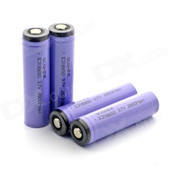 все цены на Soshine 2800mAh ICR18650 Li-ion Anode Protection Battery w/ Transparent PVC Case - Purple (4 PCS) онлайн